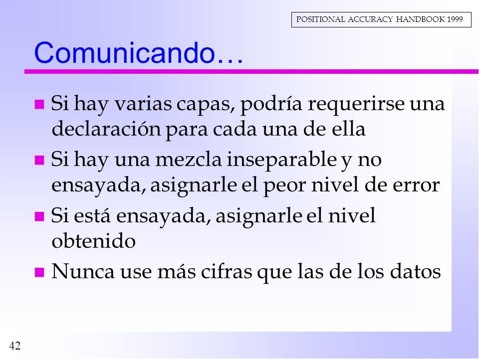 42 Comunicando… n Si hay varias capas, podría requerirse una declaración para cada una de ella n Si hay una mezcla inseparable y no ensayada, asignarl