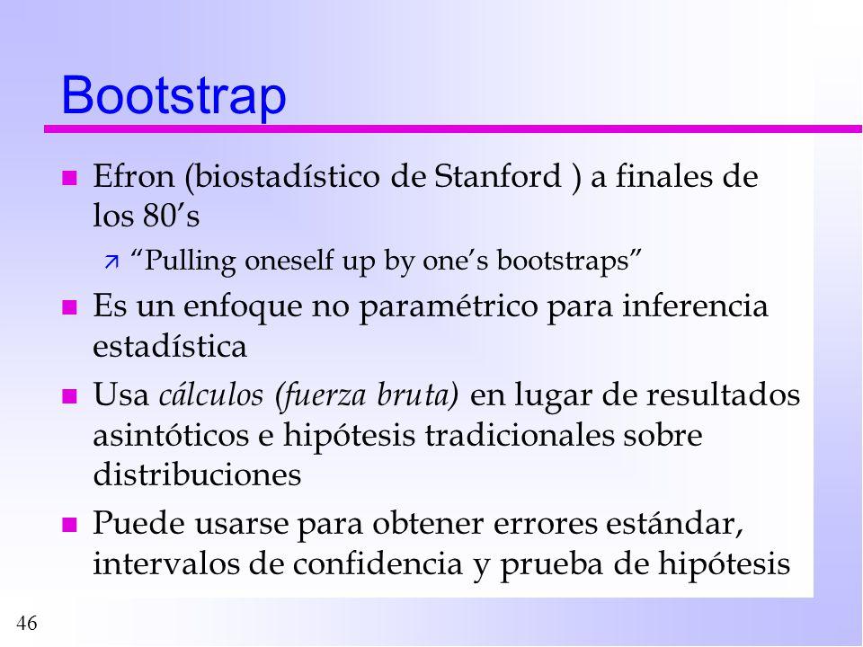 46 Bootstrap n Efron (biostadístico de Stanford ) a finales de los 80s ä Pulling oneself up by ones bootstraps n Es un enfoque no paramétrico para inf