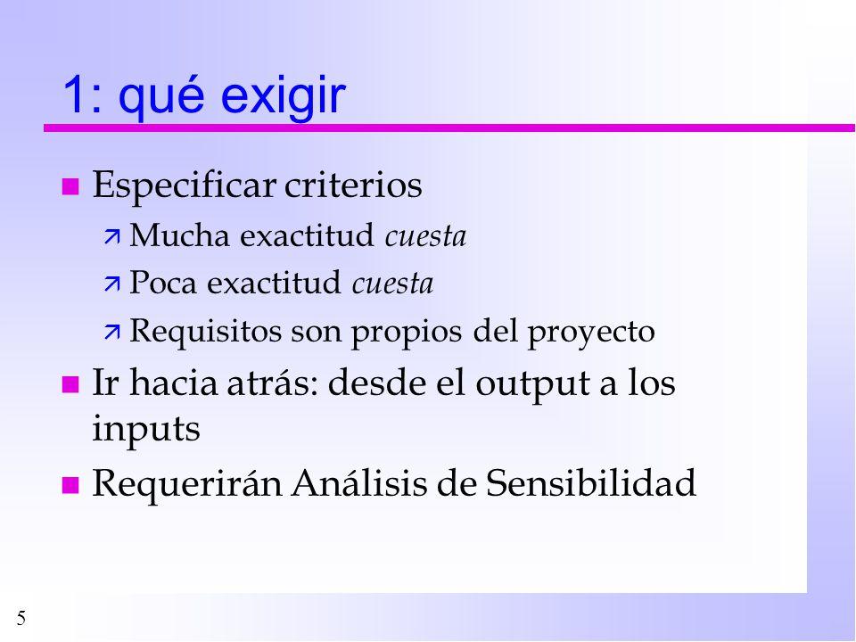 5 1: qué exigir n Especificar criterios ä Mucha exactitud cuesta ä Poca exactitud cuesta ä Requisitos son propios del proyecto n Ir hacia atrás: desde