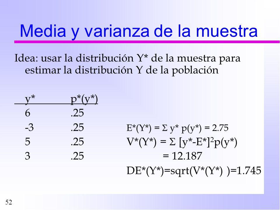 52 Media y varianza de la muestra Idea: usar la distribución Y* de la muestra para estimar la distribución Y de la población y*p*(y*) 6.25 -3.25 E*(Y*