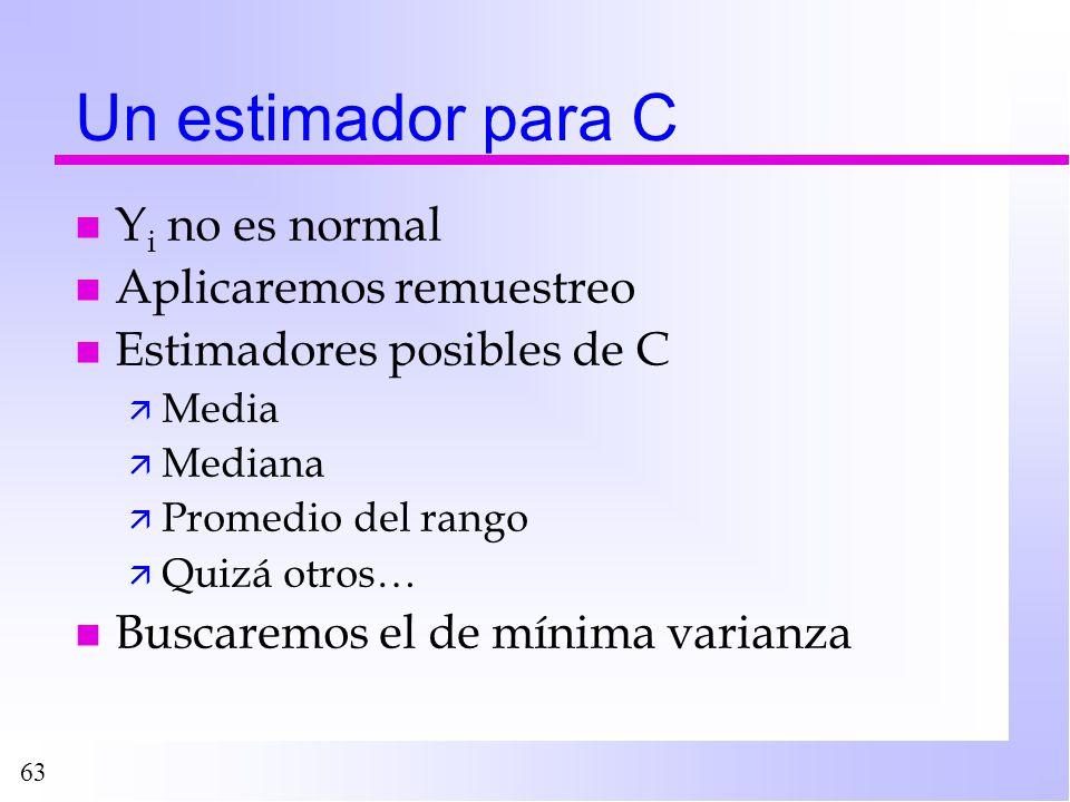 63 Un estimador para C n Y i no es normal n Aplicaremos remuestreo n Estimadores posibles de C ä Media ä Mediana ä Promedio del rango ä Quizá otros… n
