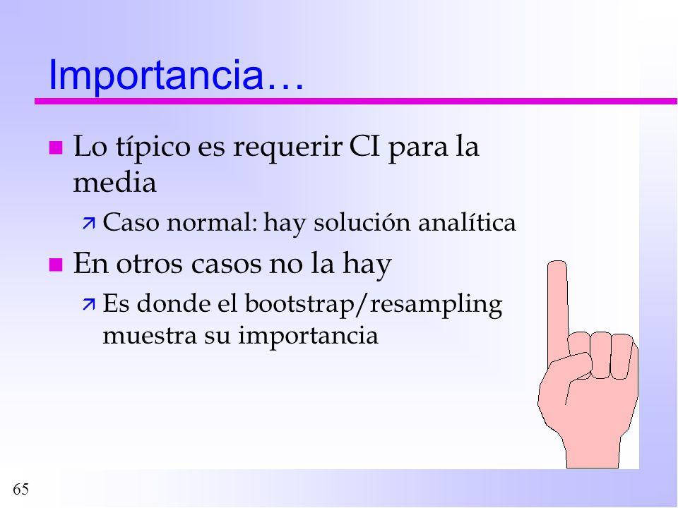 65 Importancia… n Lo típico es requerir CI para la media ä Caso normal: hay solución analítica n En otros casos no la hay ä Es donde el bootstrap/resa