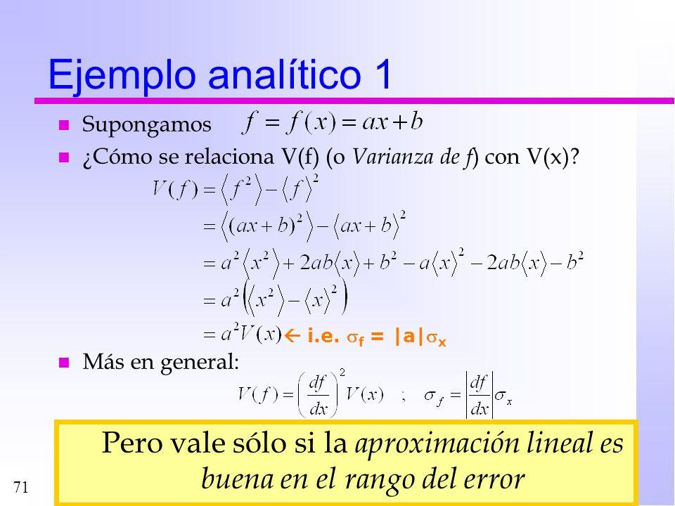 71 n Supongamos n ¿Cómo se relaciona V(f) (o Varianza de f ) con V(x)? n Más en general: Ejemplo analítico 1 i.e. f = |a| x Pero vale sólo si la aprox