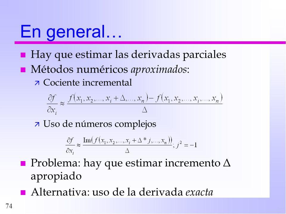 74 En general… n Hay que estimar las derivadas parciales n Métodos numéricos aproximados : ä Cociente incremental ä Uso de números complejos n Problem