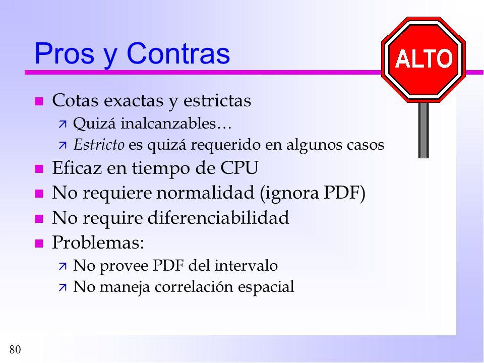 80 Pros y Contras n Cotas exactas y estrictas ä Quizá inalcanzables… ä Estricto es quizá requerido en algunos casos n Eficaz en tiempo de CPU n No req