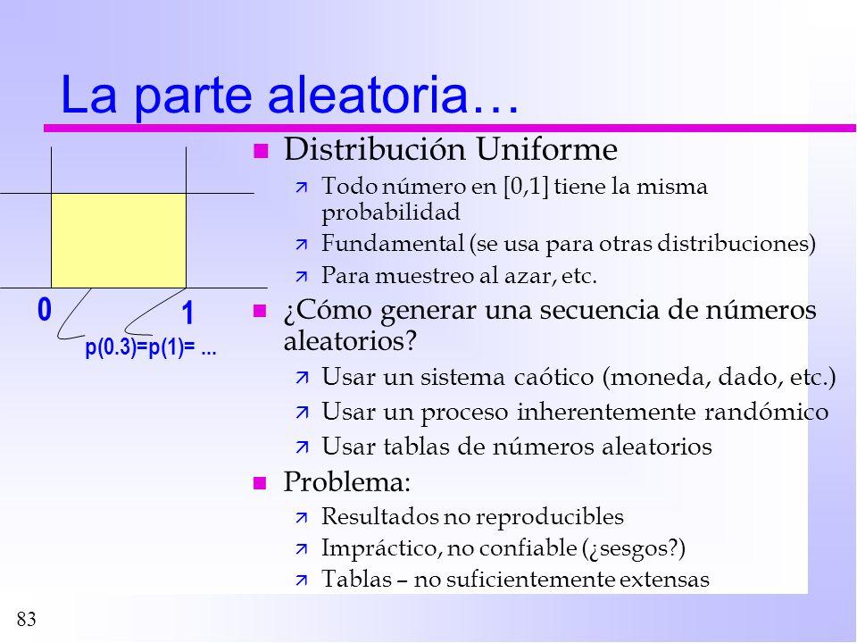 83 La parte aleatoria… n Distribución Uniforme ä Todo número en [0,1] tiene la misma probabilidad ä Fundamental (se usa para otras distribuciones) ä P