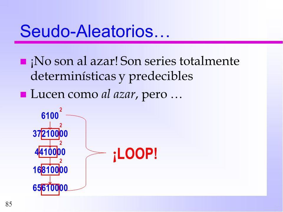 85 Seudo-Aleatorios… n ¡No son al azar! Son series totalmente determinísticas y predecibles n Lucen como al azar, pero … 6100 37210000 4410000 1681000
