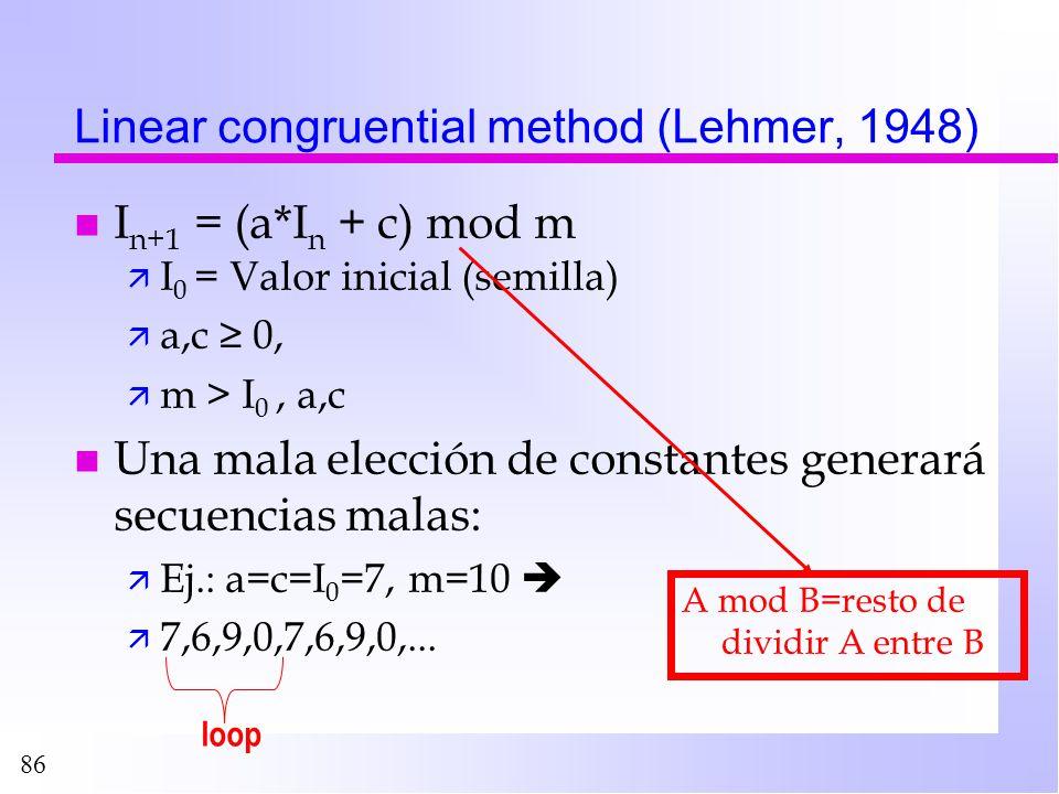 86 Linear congruential method (Lehmer, 1948) ä I 0 = Valor inicial (semilla) ä a,c 0, ä m > I 0, a,c n Una mala elección de constantes generará secuen