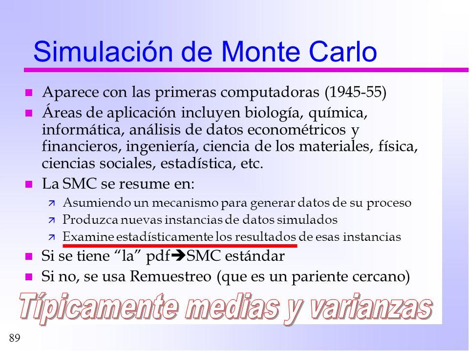 89 Simulación de Monte Carlo n Aparece con las primeras computadoras (1945-55) n Áreas de aplicación incluyen biología, química, informática, análisis