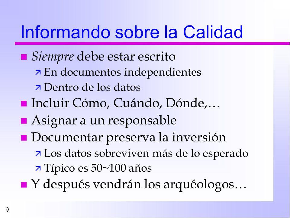 9 Informando sobre la Calidad n Siempre debe estar escrito ä En documentos independientes ä Dentro de los datos n Incluir Cómo, Cuándo, Dónde,… n Asig