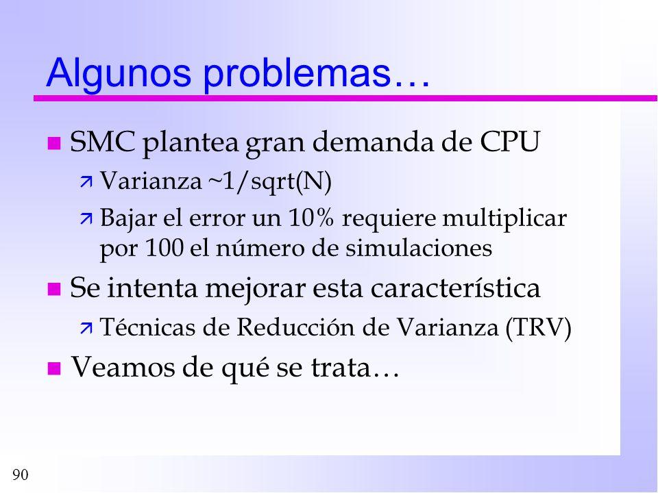 90 Algunos problemas… n SMC plantea gran demanda de CPU ä Varianza ~1/sqrt(N) ä Bajar el error un 10% requiere multiplicar por 100 el número de simula
