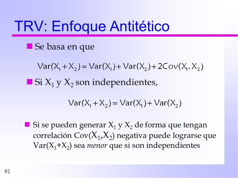 91 TRV: Enfoque Antitético Se basa en que Si X 1 y X 2 son independientes, Si se pueden generar X 1 y X 2 de forma que tengan correlación Cov( X 1,X 2