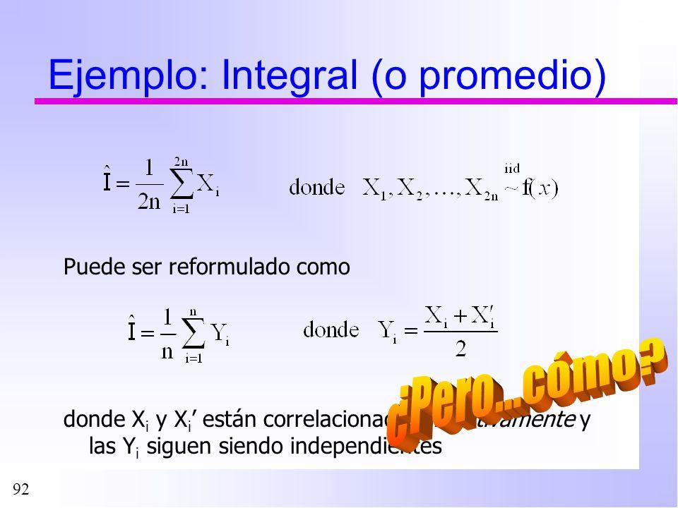 92 Ejemplo: Integral (o promedio) Puede ser reformulado como donde X i y X i están correlacionados negativamente y las Y i siguen siendo independiente