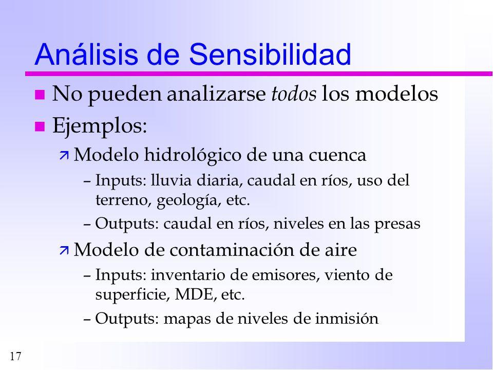 17 Análisis de Sensibilidad n No pueden analizarse todos los modelos n Ejemplos: ä Modelo hidrológico de una cuenca –Inputs: lluvia diaria, caudal en