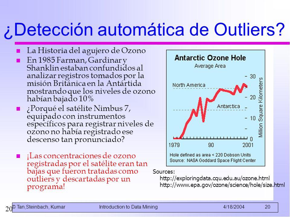 20 ¿Detección automática de Outliers? n La Historia del agujero de Ozono n En 1985 Farman, Gardinar y Shanklin estaban confundidos al analizar registr