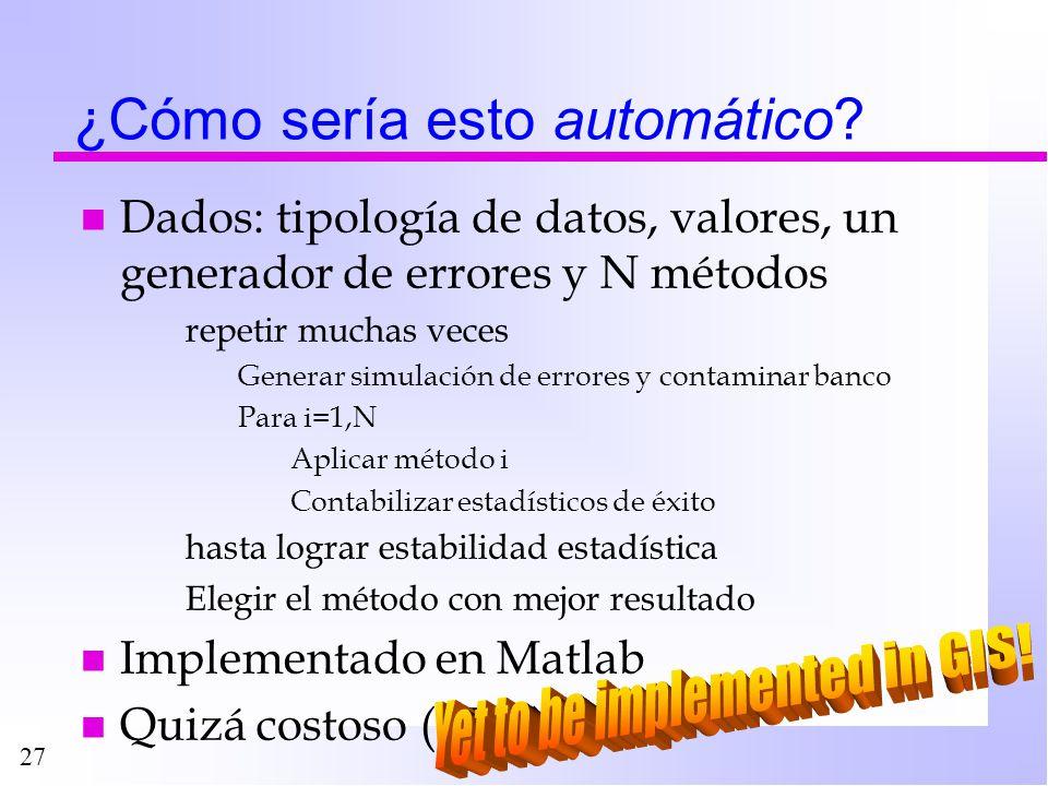 27 ¿Cómo sería esto automático? n Dados: tipología de datos, valores, un generador de errores y N métodos repetir muchas veces Generar simulación de e