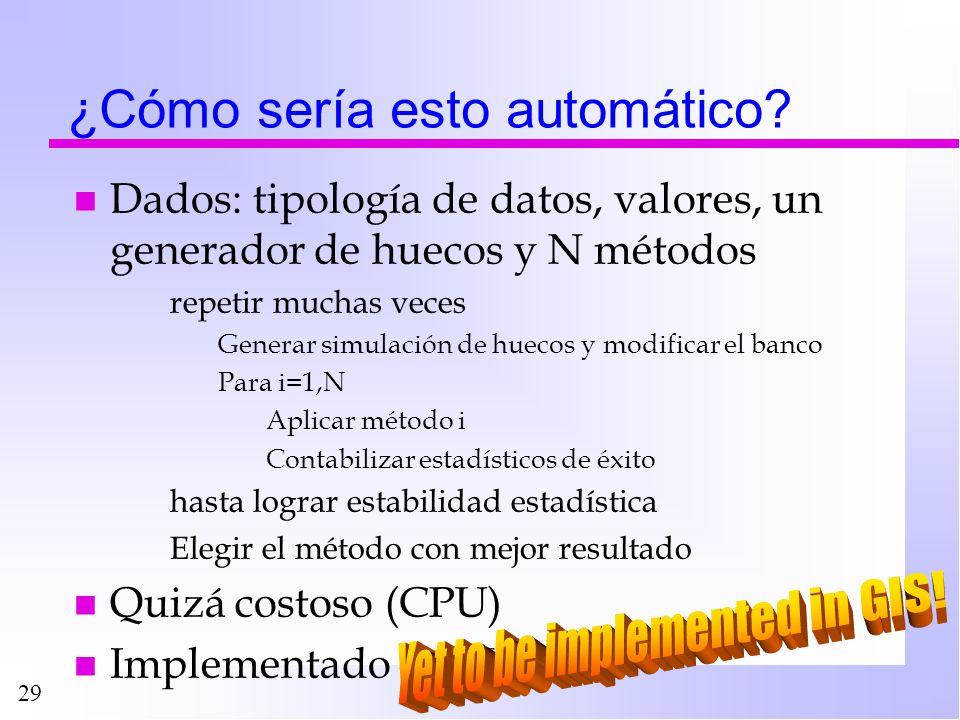 29 ¿Cómo sería esto automático? n Dados: tipología de datos, valores, un generador de huecos y N métodos repetir muchas veces Generar simulación de hu