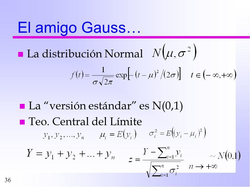 36 El amigo Gauss… n La distribución Normal n La versión estándar es N(0,1) n Teo. Central del Límite