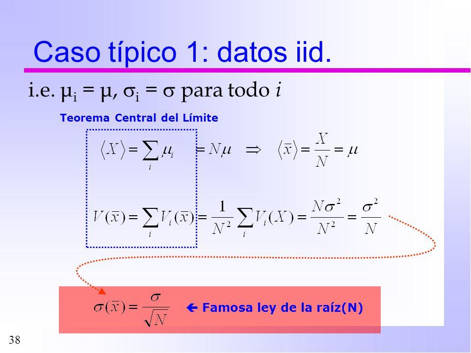38 Caso típico 1: datos iid. i.e. μ i = μ, i = para todo i Famosa ley de la raíz(N) Teorema Central del Límite