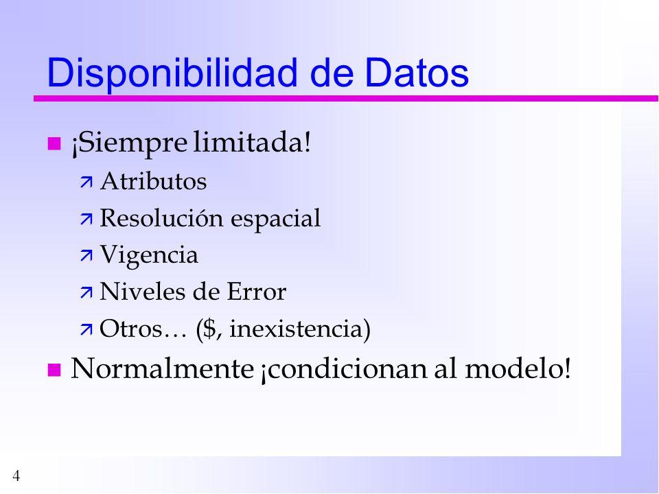 4 Disponibilidad de Datos n ¡Siempre limitada! ä Atributos ä Resolución espacial ä Vigencia ä Niveles de Error ä Otros… ($, inexistencia) n Normalment