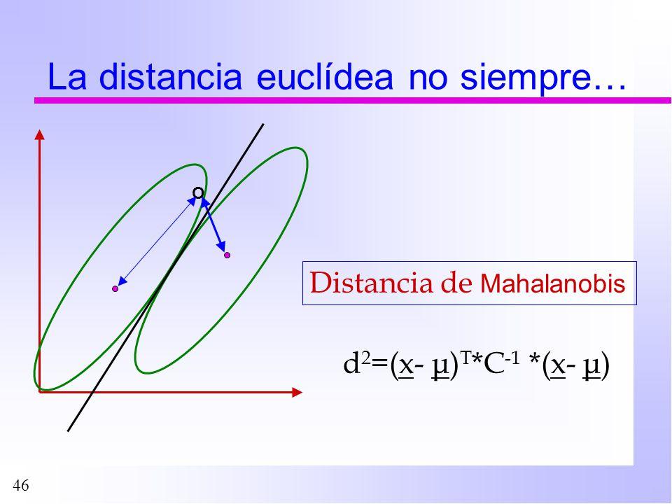 46 La distancia euclídea no siempre… O Distancia de Mahalanobis d 2 =(x- μ) T *C -1 *(x- μ)