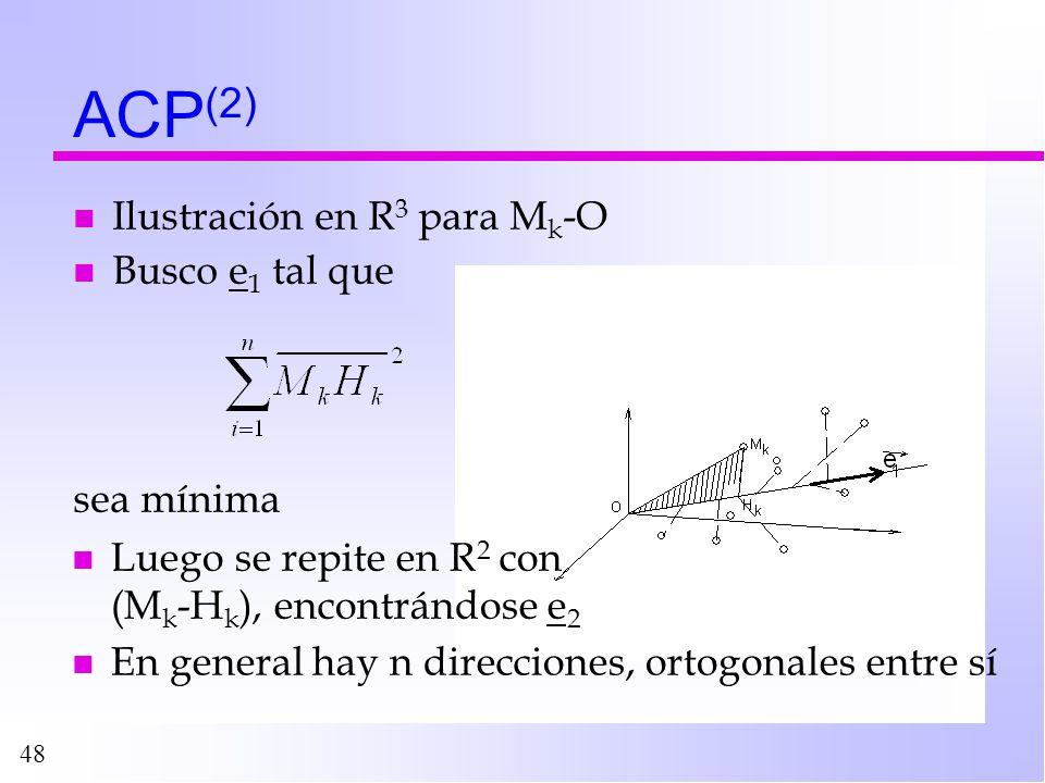 48 ACP (2) n Ilustración en R 3 para M k -O n Busco e 1 tal que sea mínima n Luego se repite en R 2 con (M k -H k ), encontrándose e 2 n En general ha