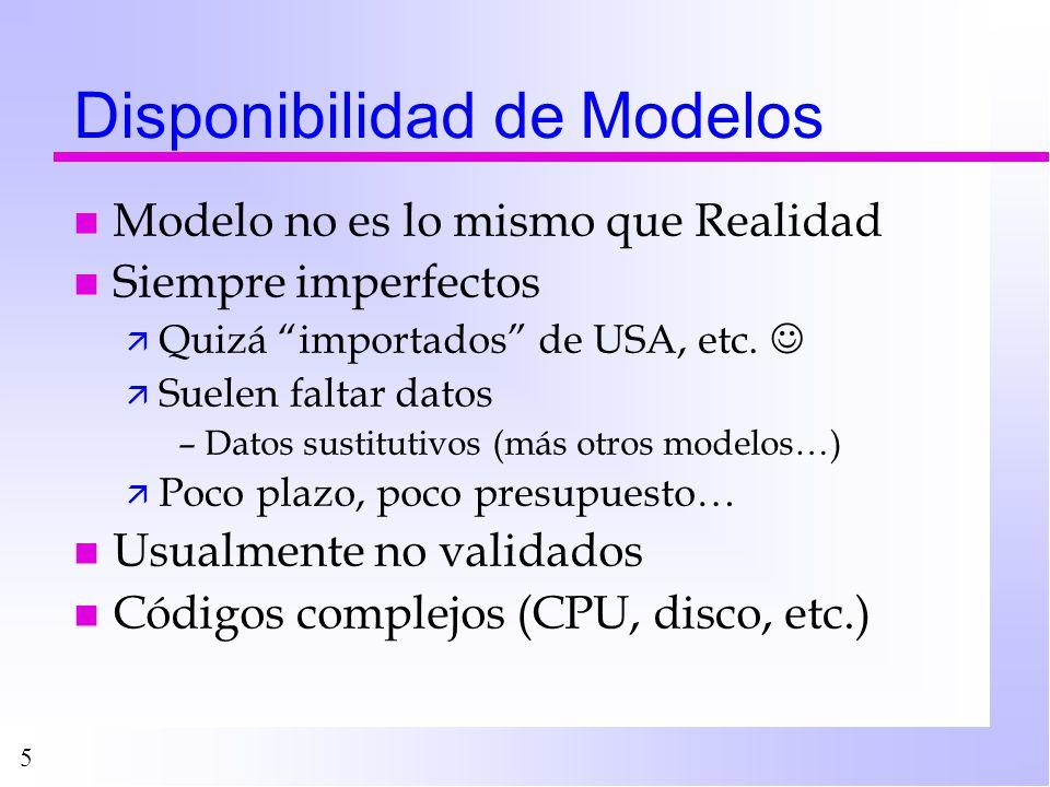 5 Disponibilidad de Modelos n Modelo no es lo mismo que Realidad n Siempre imperfectos ä Quizá importados de USA, etc. ä Suelen faltar datos –Datos su