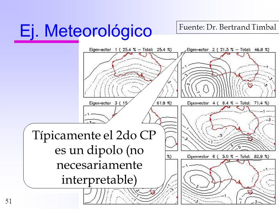 51 Ej. Meteorológico Fuente: Dr. Bertrand Timbal Típicamente el 2do CP es un dipolo (no necesariamente interpretable)