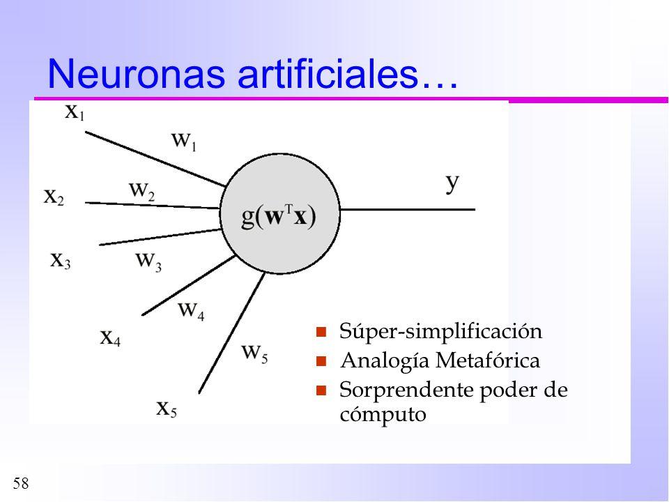 58 Neuronas artificiales… n Súper-simplificación n Analogía Metafórica n Sorprendente poder de cómputo
