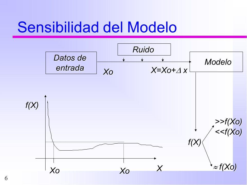 17 Análisis de Sensibilidad n No pueden analizarse todos los modelos n Ejemplos: ä Modelo hidrológico de una cuenca –Inputs: lluvia diaria, caudal en ríos, uso del terreno, geología, etc.