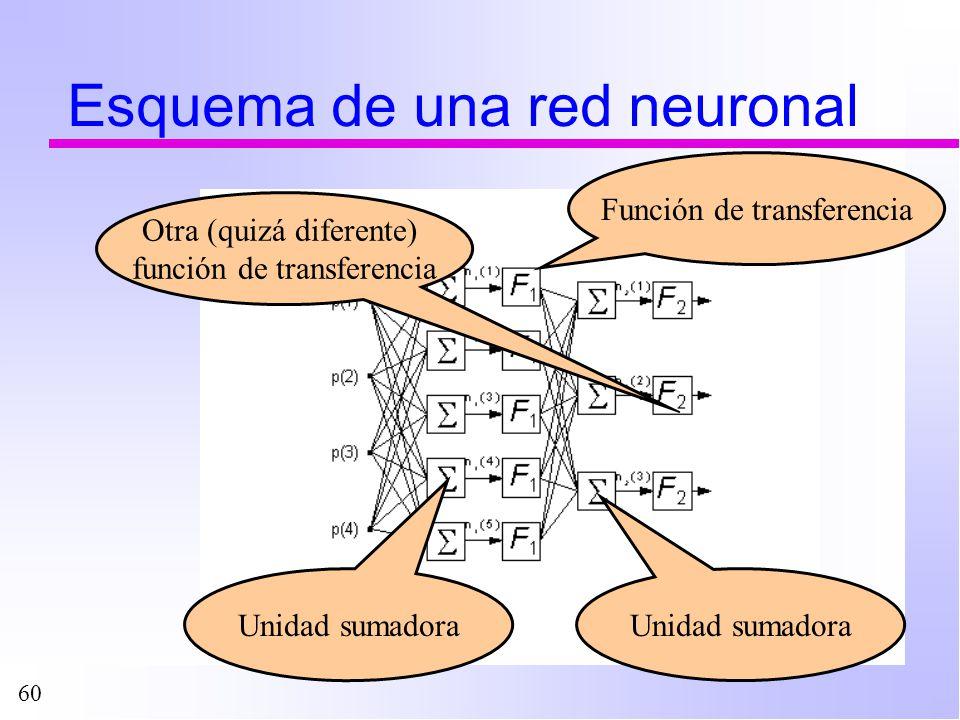 60 Esquema de una red neuronal Unidad sumadora Función de transferencia Unidad sumadora Otra (quizá diferente) función de transferencia