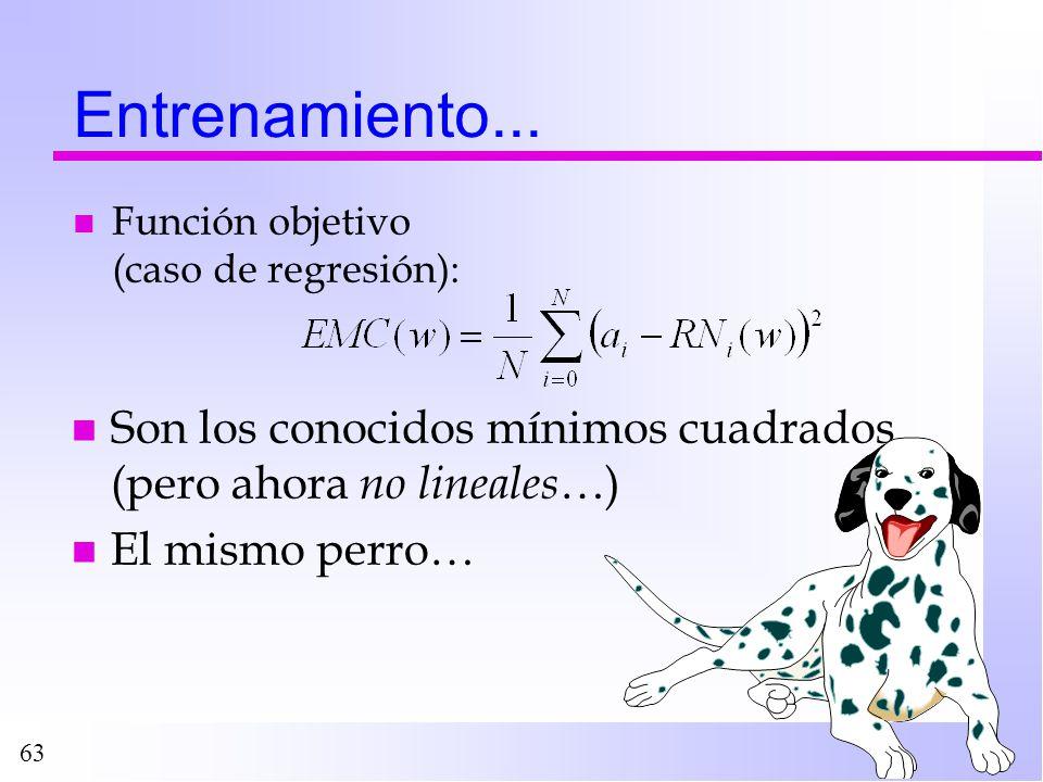 63 Entrenamiento... n Función objetivo (caso de regresión): n Son los conocidos mínimos cuadrados (pero ahora no lineales …) n El mismo perro…