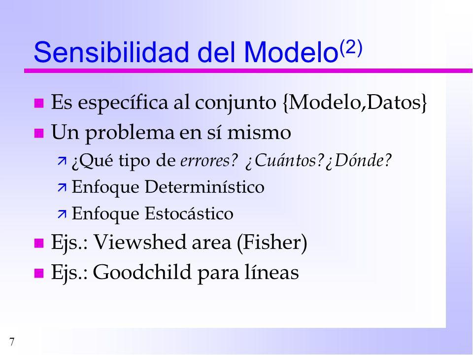 7 Sensibilidad del Modelo (2) n Es específica al conjunto {Modelo,Datos} n Un problema en sí mismo ä ¿Qué tipo de errores? ¿Cuántos?¿Dónde? ä Enfoque