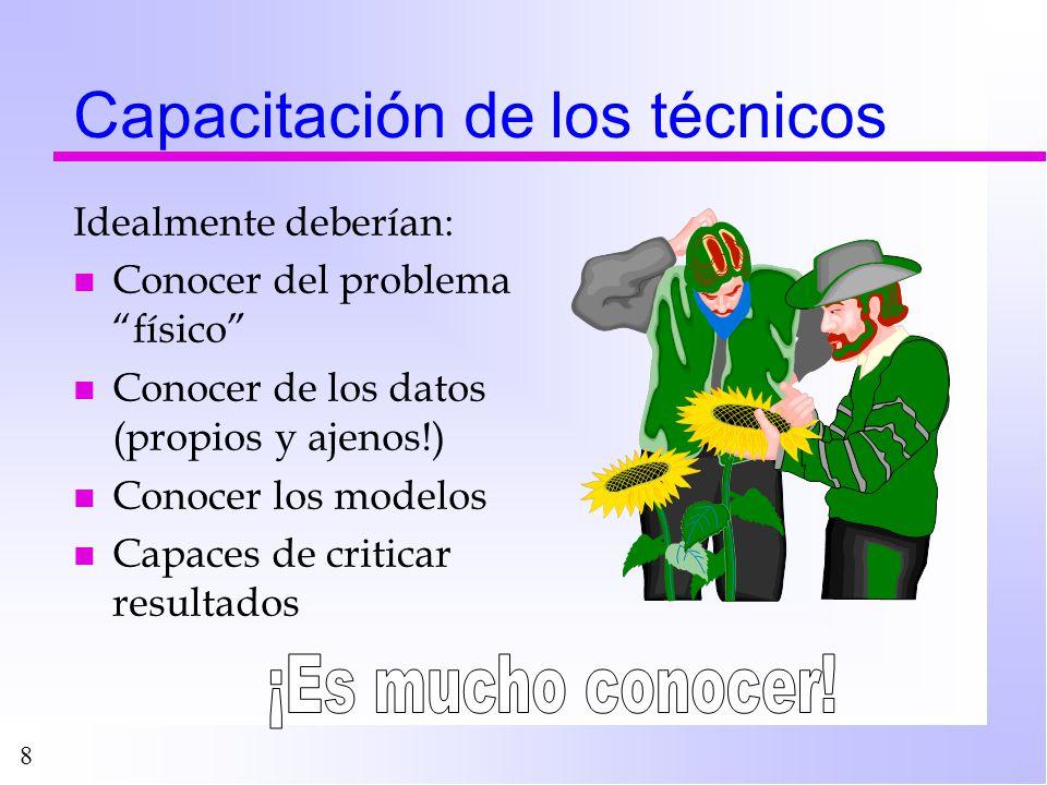 8 Capacitación de los técnicos Idealmente deberían: n Conocer del problema físico n Conocer de los datos (propios y ajenos!) n Conocer los modelos n C