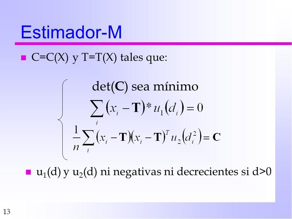 13 Estimador-M det( C ) sea mínimo n u 1 (d) y u 2 (d) ni negativas ni decrecientes si d>0 n C=C(X) y T=T(X) tales que: