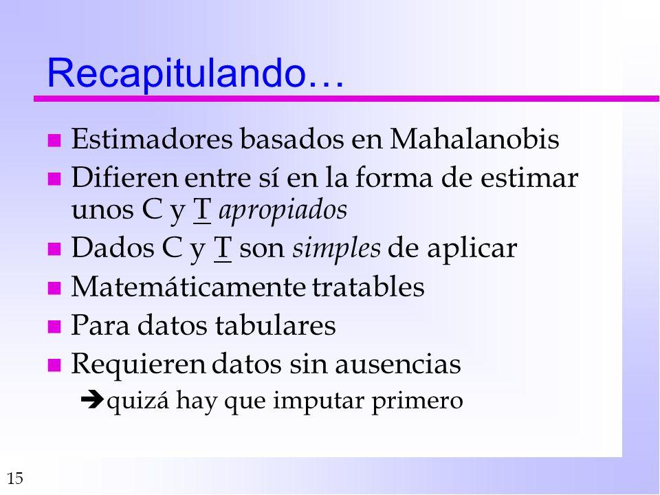 15 Recapitulando… n Estimadores basados en Mahalanobis n Difieren entre sí en la forma de estimar unos C y T apropiados n Dados C y T son simples de a