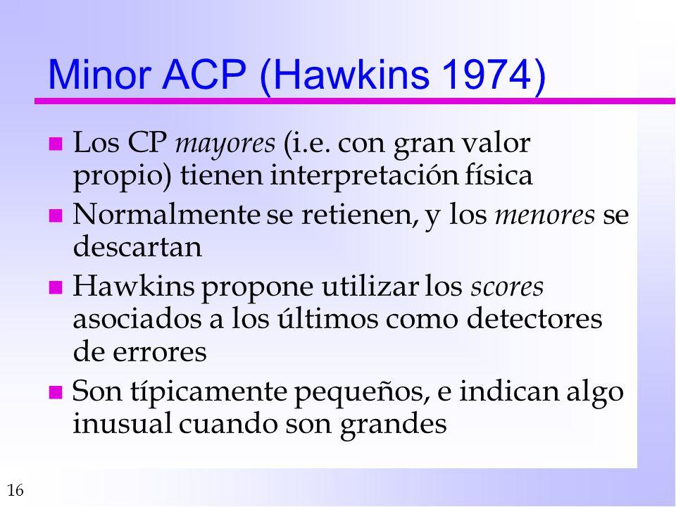 16 Minor ACP (Hawkins 1974) nLnLos CP m ayores (i.e. con gran valor propio) tienen interpretación física nNnNormalmente se retienen, y los m enores se