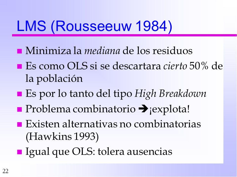 22 LMS (Rousseeuw 1984) n Minimiza la mediana de los residuos n Es como OLS si se descartara cierto 50% de la población n Es por lo tanto del tipo High Breakdown n Problema combinatorio ¡explota.