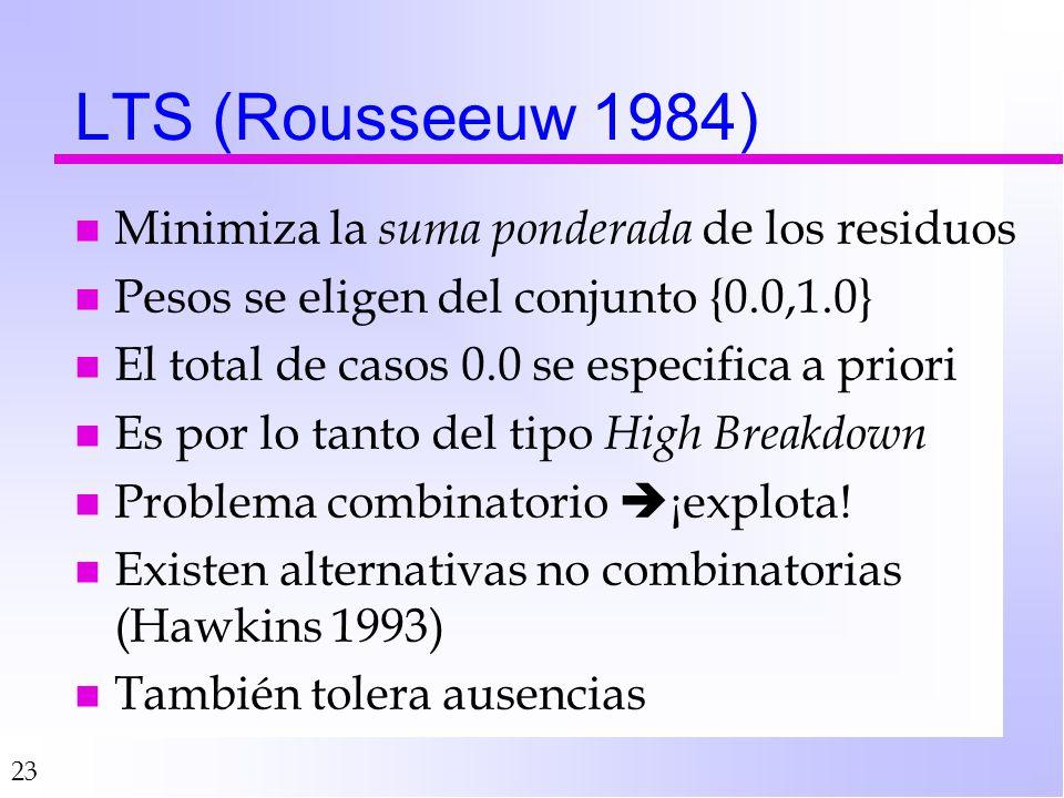 23 LTS (Rousseeuw 1984) nMnMinimiza la s uma ponderada de los residuos nPnPesos se eligen del conjunto {0.0,1.0} nEnEl total de casos 0.0 se especifica a priori nEnEs por lo tanto del tipo H igh Breakdown nPnProblema combinatorio ¡explota.