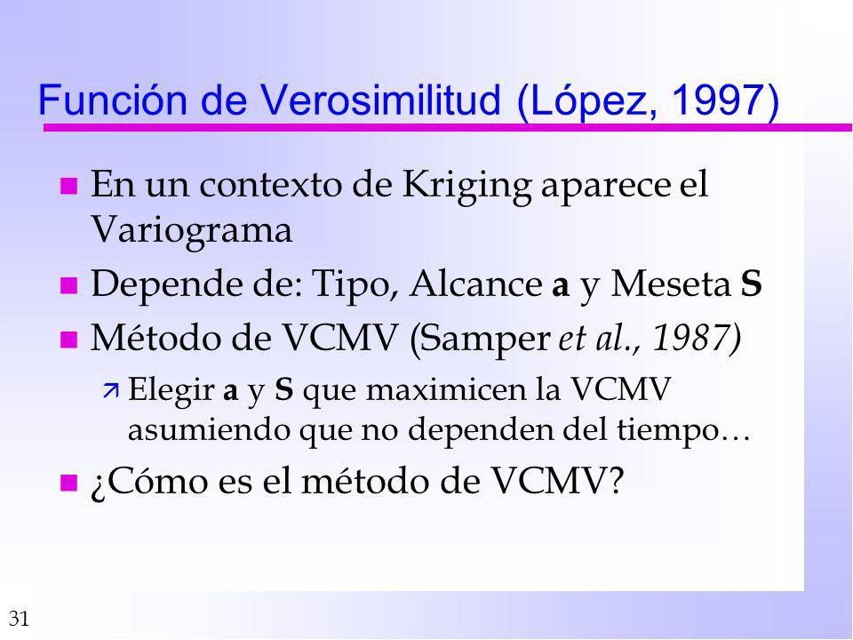 31 Función de Verosimilitud (López, 1997) n En un contexto de Kriging aparece el Variograma n Depende de: Tipo, Alcance a y Meseta S n Método de VCMV (Samper et al., 1987) ä Elegir a y S que maximicen la VCMV asumiendo que no dependen del tiempo… n ¿Cómo es el método de VCMV?