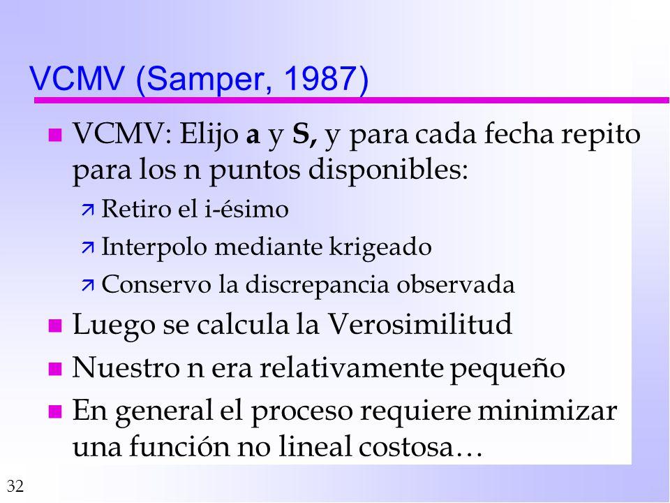 32 VCMV (Samper, 1987) n VCMV: Elijo a y S, y para cada fecha repito para los n puntos disponibles: ä Retiro el i-ésimo ä Interpolo mediante krigeado ä Conservo la discrepancia observada n Luego se calcula la Verosimilitud n Nuestro n era relativamente pequeño n En general el proceso requiere minimizar una función no lineal costosa…