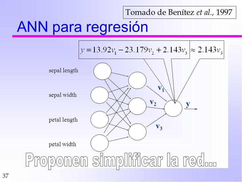 37 ANN para regresión petal width petal length sepal width sepal length v1v1 v2v2 v3v3 y Tomado de Benítez et al., 1997