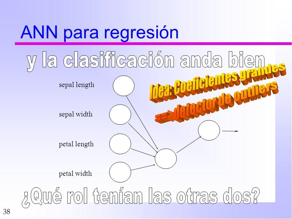 38 ANN para regresión petal width petal length sepal width sepal length