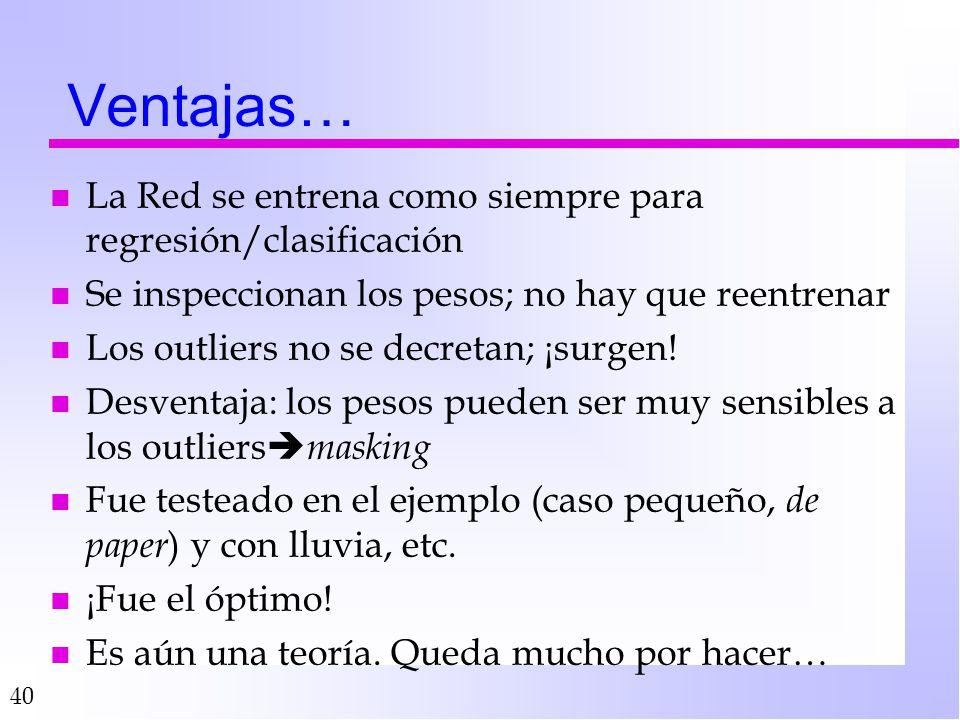 40 Ventajas… n La Red se entrena como siempre para regresión/clasificación n Se inspeccionan los pesos; no hay que reentrenar n Los outliers no se decretan; ¡surgen.