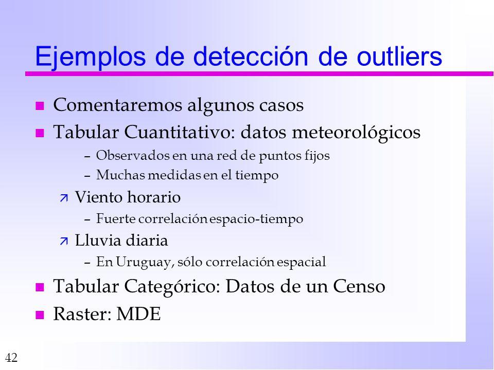 42 Ejemplos de detección de outliers n Comentaremos algunos casos n Tabular Cuantitativo: datos meteorológicos –Observados en una red de puntos fijos –Muchas medidas en el tiempo ä Viento horario –Fuerte correlación espacio-tiempo ä Lluvia diaria –En Uruguay, sólo correlación espacial n Tabular Categórico: Datos de un Censo n Raster: MDE