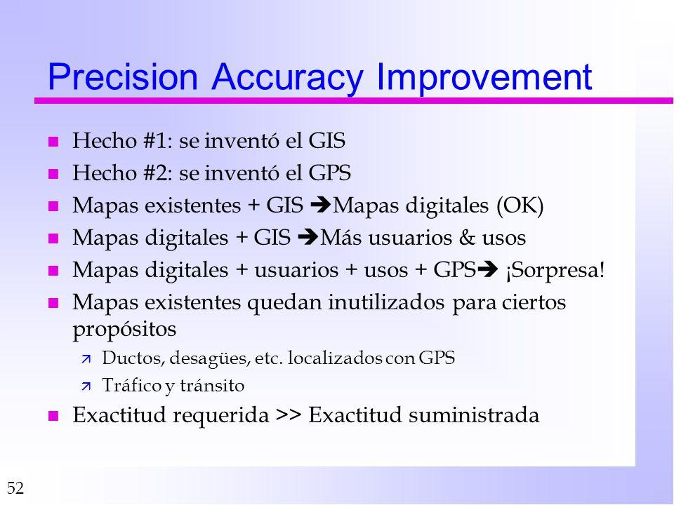 52 Precision Accuracy Improvement n Hecho #1: se inventó el GIS n Hecho #2: se inventó el GPS n Mapas existentes + GIS Mapas digitales (OK) n Mapas digitales + GIS Más usuarios & usos n Mapas digitales + usuarios + usos + GPS ¡Sorpresa.