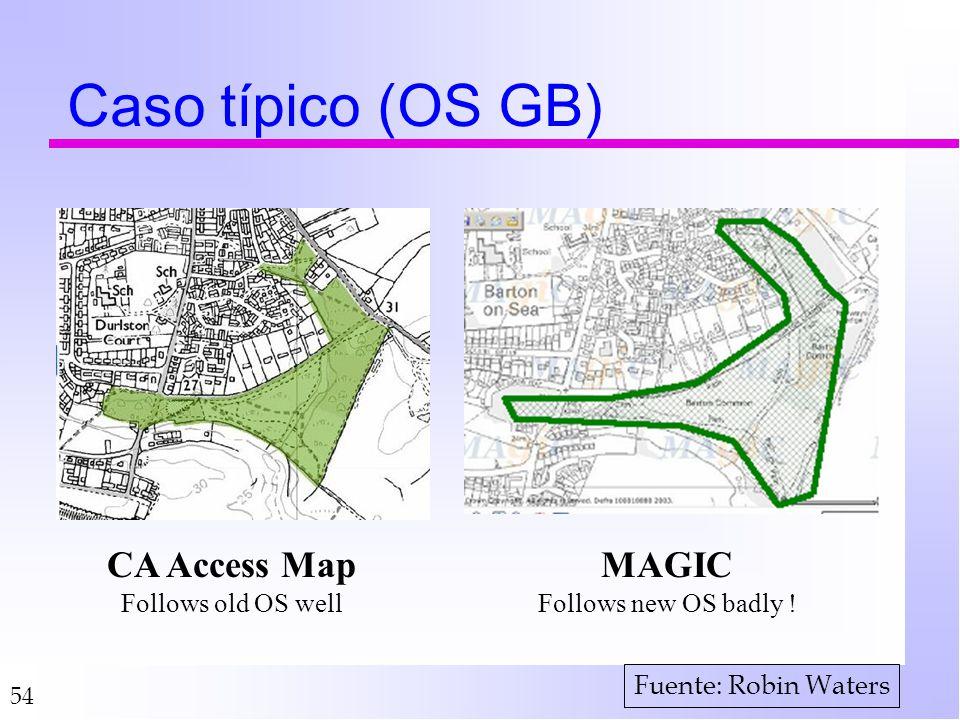 54 Caso típico (OS GB) CA Access Map Follows old OS well MAGIC Follows new OS badly ! Fuente: Robin Waters