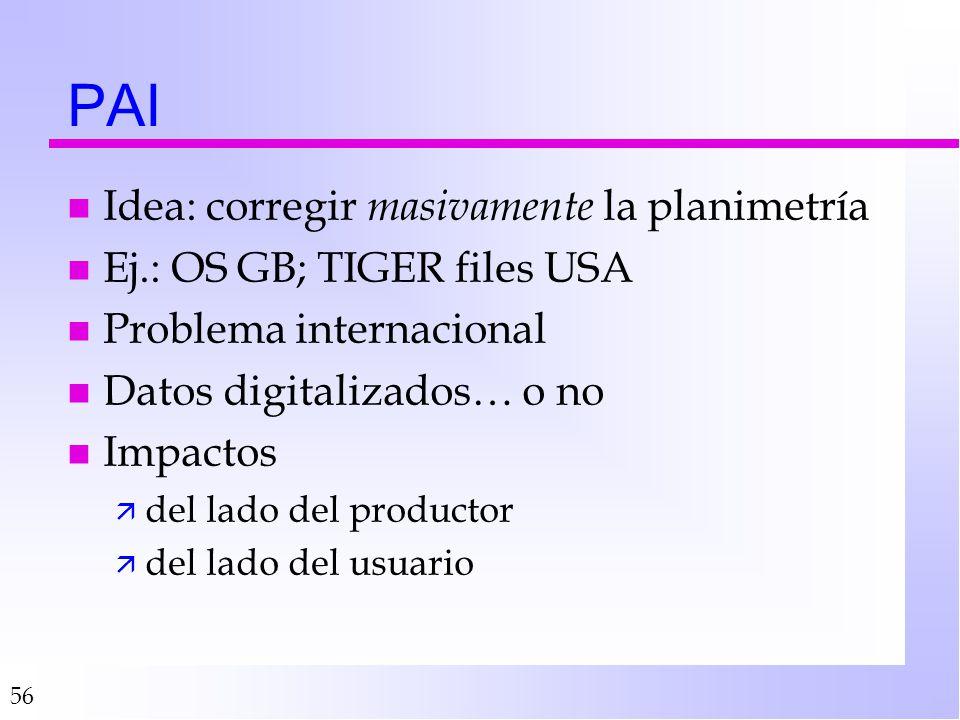 56 PAI n Idea: corregir masivamente la planimetría n Ej.: OS GB; TIGER files USA n Problema internacional n Datos digitalizados… o no n Impactos ä del lado del productor ä del lado del usuario