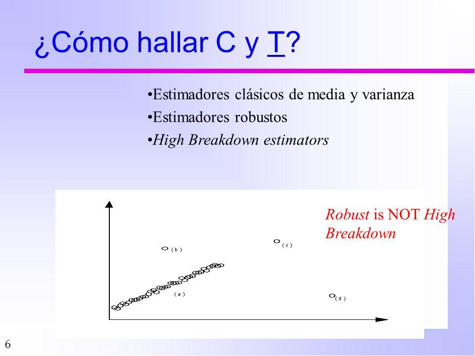 6 ¿Cómo hallar C y T? Robust is NOT High Breakdown Estimadores clásicos de media y varianza Estimadores robustos High Breakdown estimators