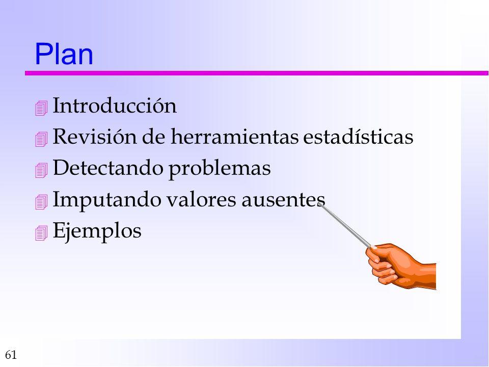 61 Plan 4 Introducción 4 Revisión de herramientas estadísticas 4 Detectando problemas 4 Imputando valores ausentes 4 Ejemplos